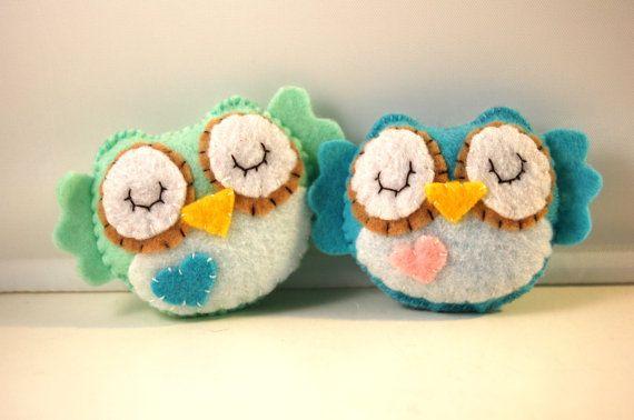 Eco Friendly Mini Plush Owls/ Stocking Stuffer Stuffed by vivikas, $16.00