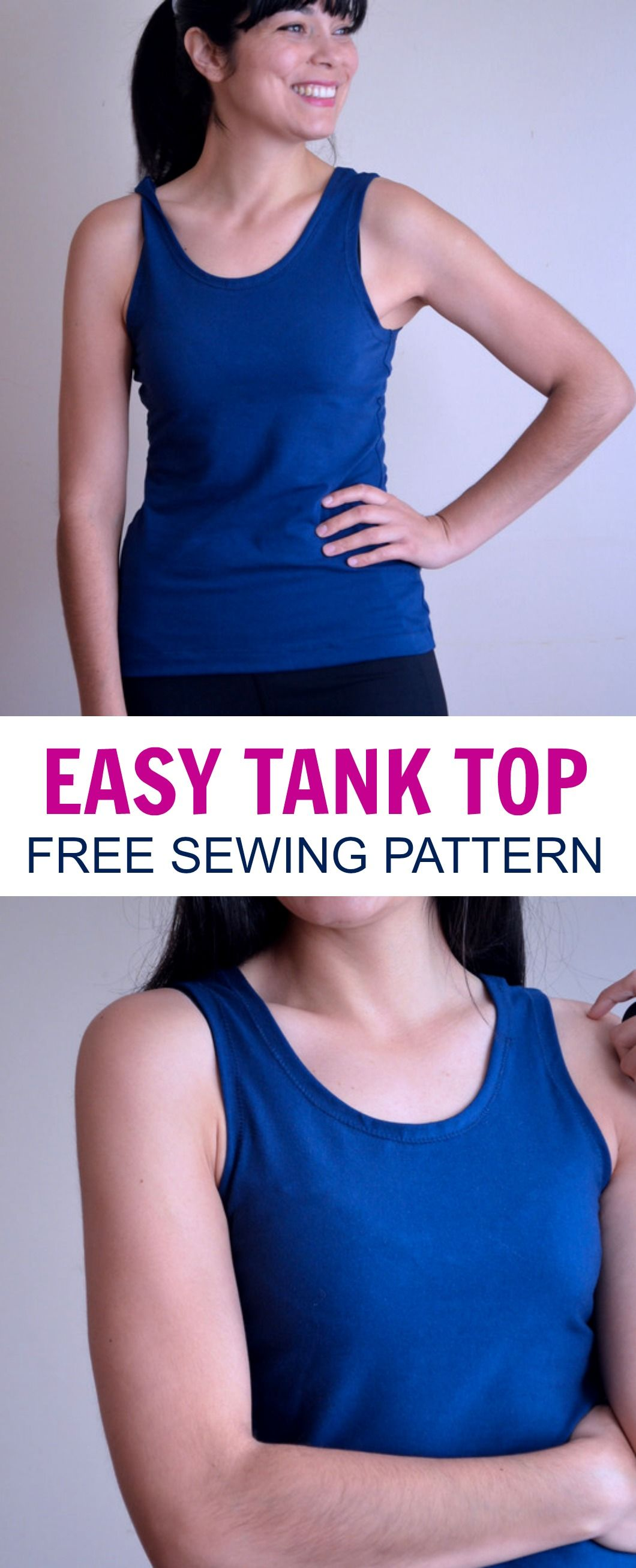 e4a634dfe3a56 Free Tank Top Free Pattern  Learn how to make an easy tank top with this  step by step sewing tutorial. Free PDF printable pattern included!