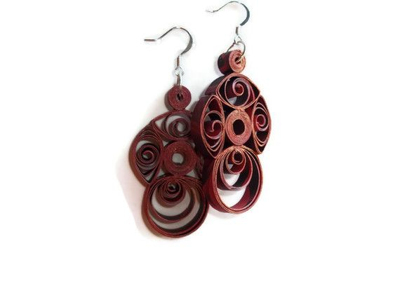 Red Paper Quilled Earrings