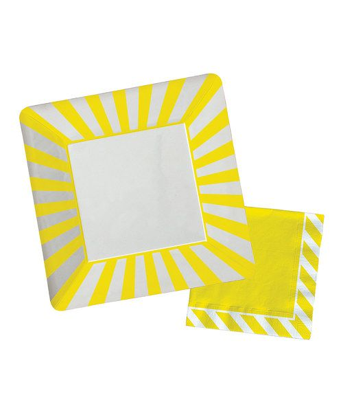 Take a look at the Yellow Stripe Paper Plate & Napkin Set on #zulily today!