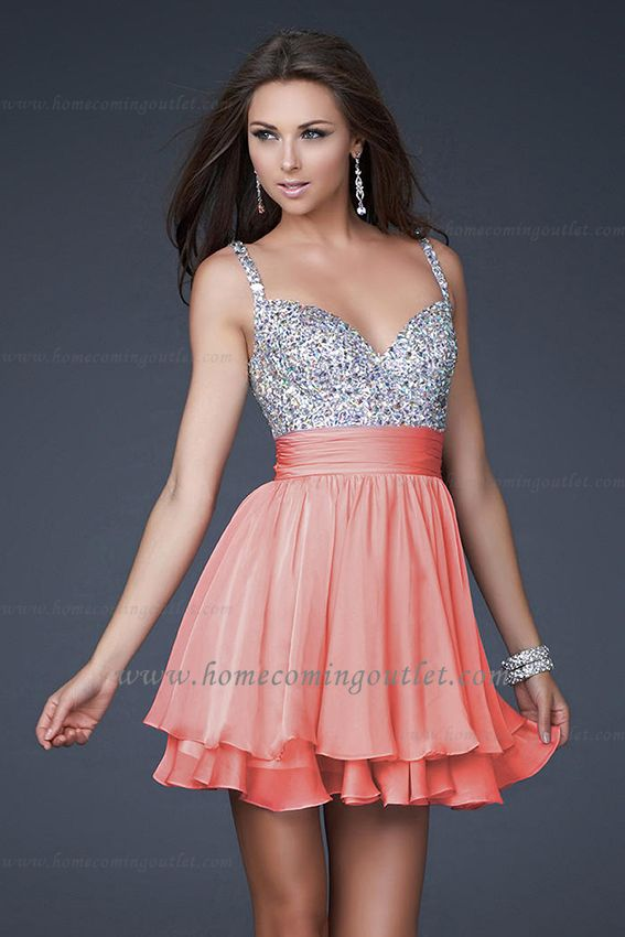 3a2fd720dda Layered Mini Length Beaded Straps Coral Prom Dresses by la Femme 16813    homecomingoutlet.com