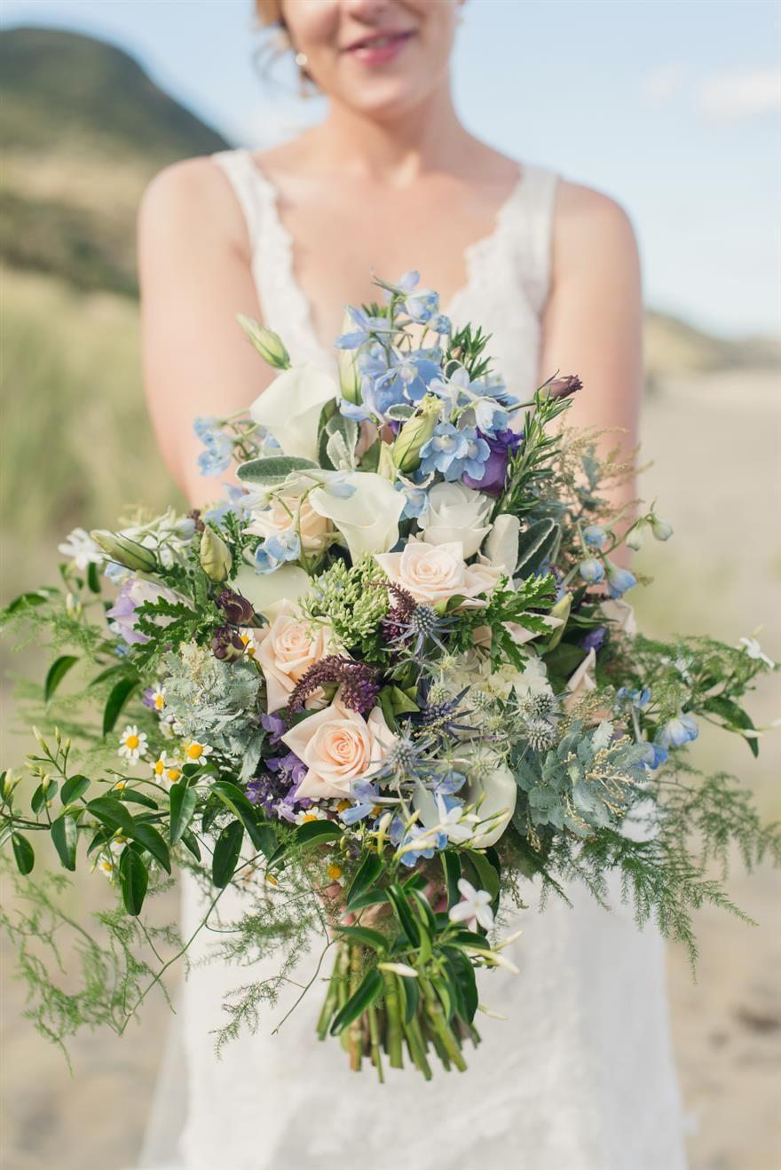 A Wild Blue Bridal Bouquet for a Beach Wedding Bridal