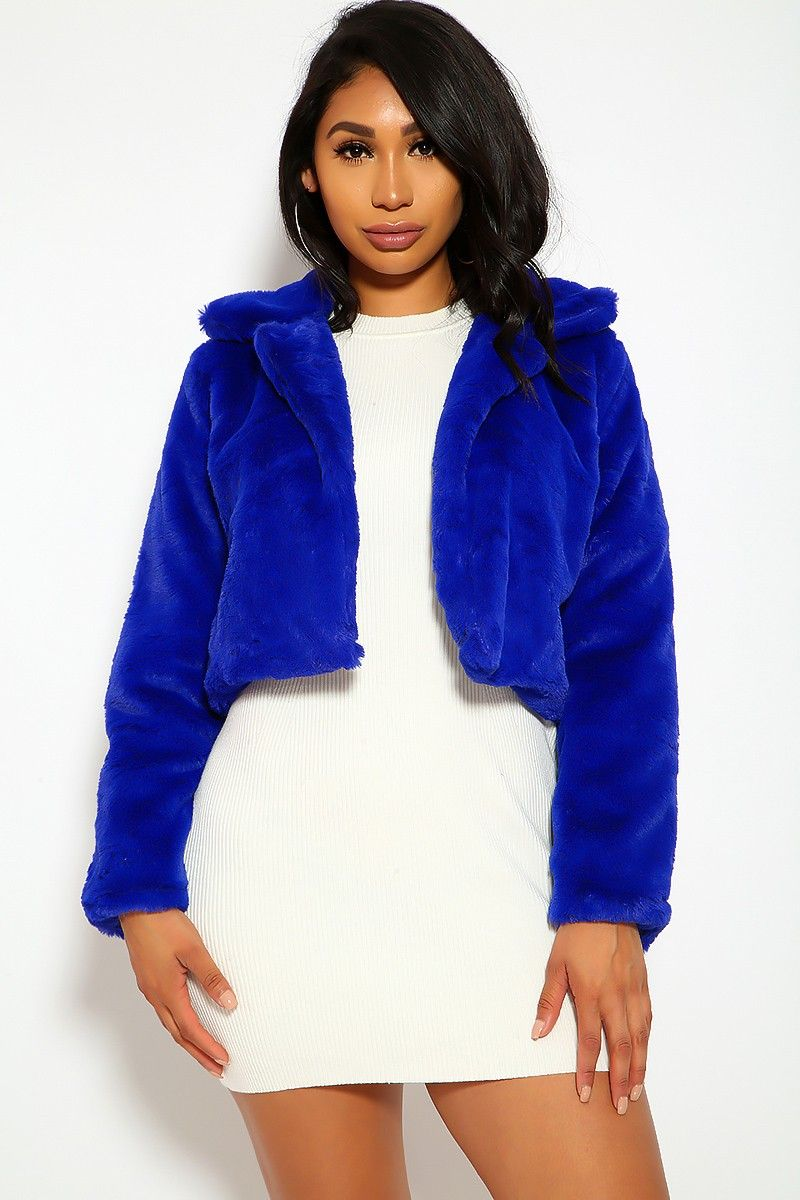 Royal Blue Cropped Faux Fur Jacket Blue Fur Jacket Faux Fur Cropped Jacket Blue Faux Fur Coat [ 1200 x 800 Pixel ]