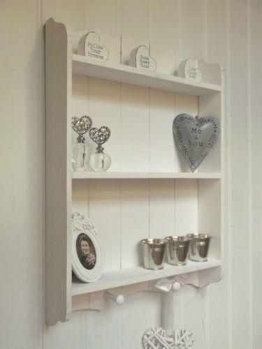 Shabby Chic Wall Unit Shelf Storage Cupboard Cabinet Hooks French