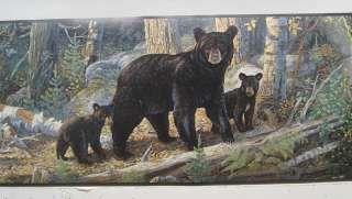 wall mural and borders bear BLACK BEAR with CUBS BEARS