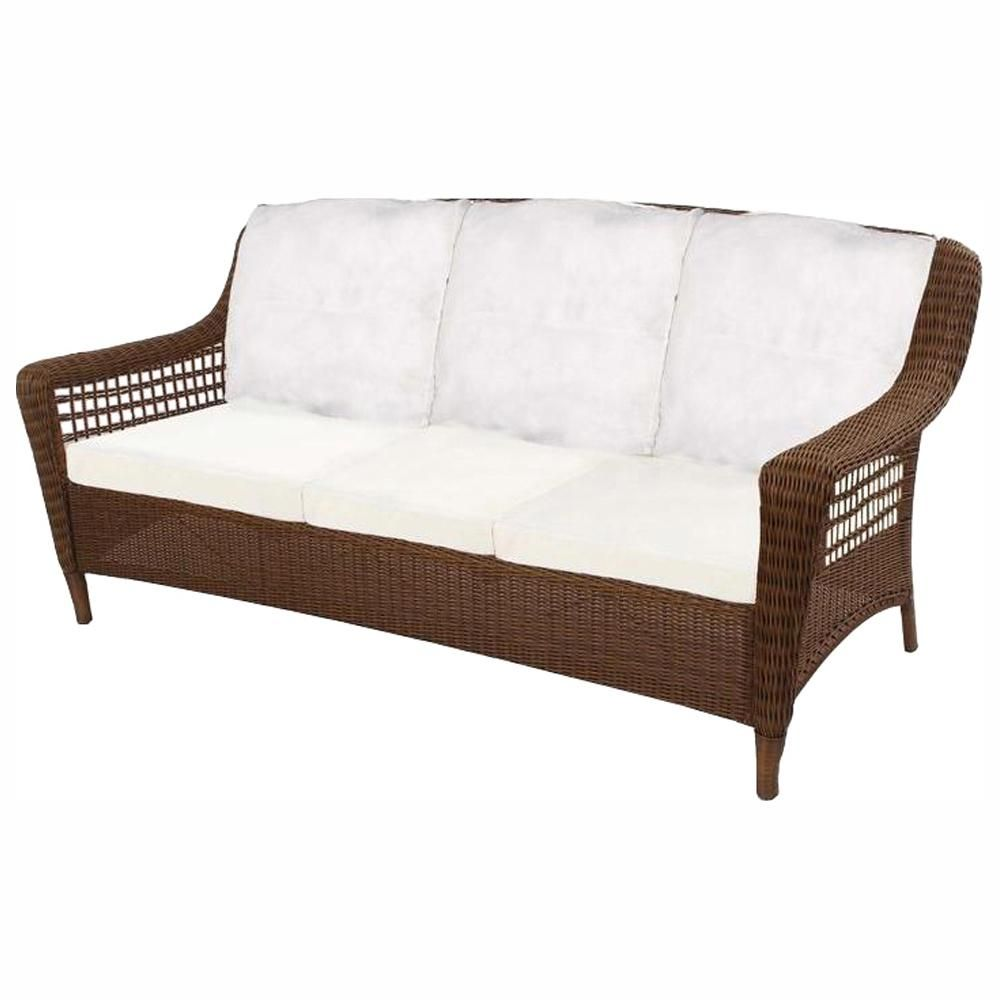 Hampton Bay Spring Haven Brown Wicker Outdoor Patio Sofa With