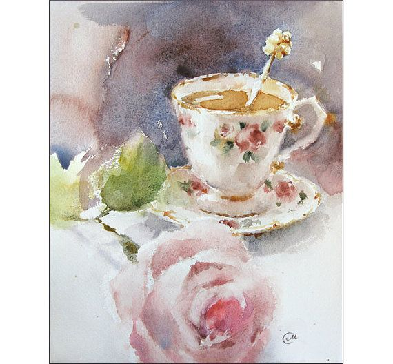 Teacup and Rose Watercolor - Original Painting 8x10 inches