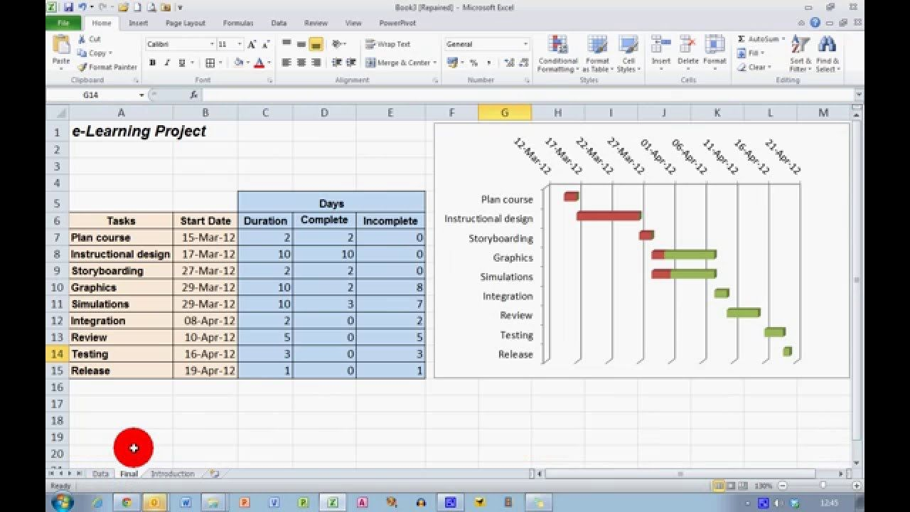 How To Create A Progress Gantt Chart In Excel 2010 Grant 2018