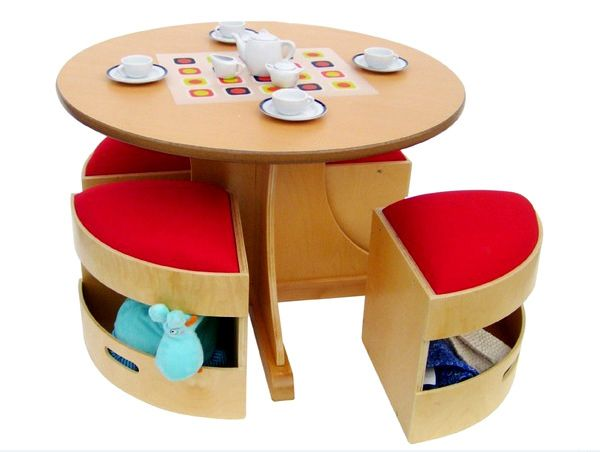 15 Kidu0027s Table And Chair Sets For Livelier Activity Time : Wooden Round  Kids Table With The Hidden Storage