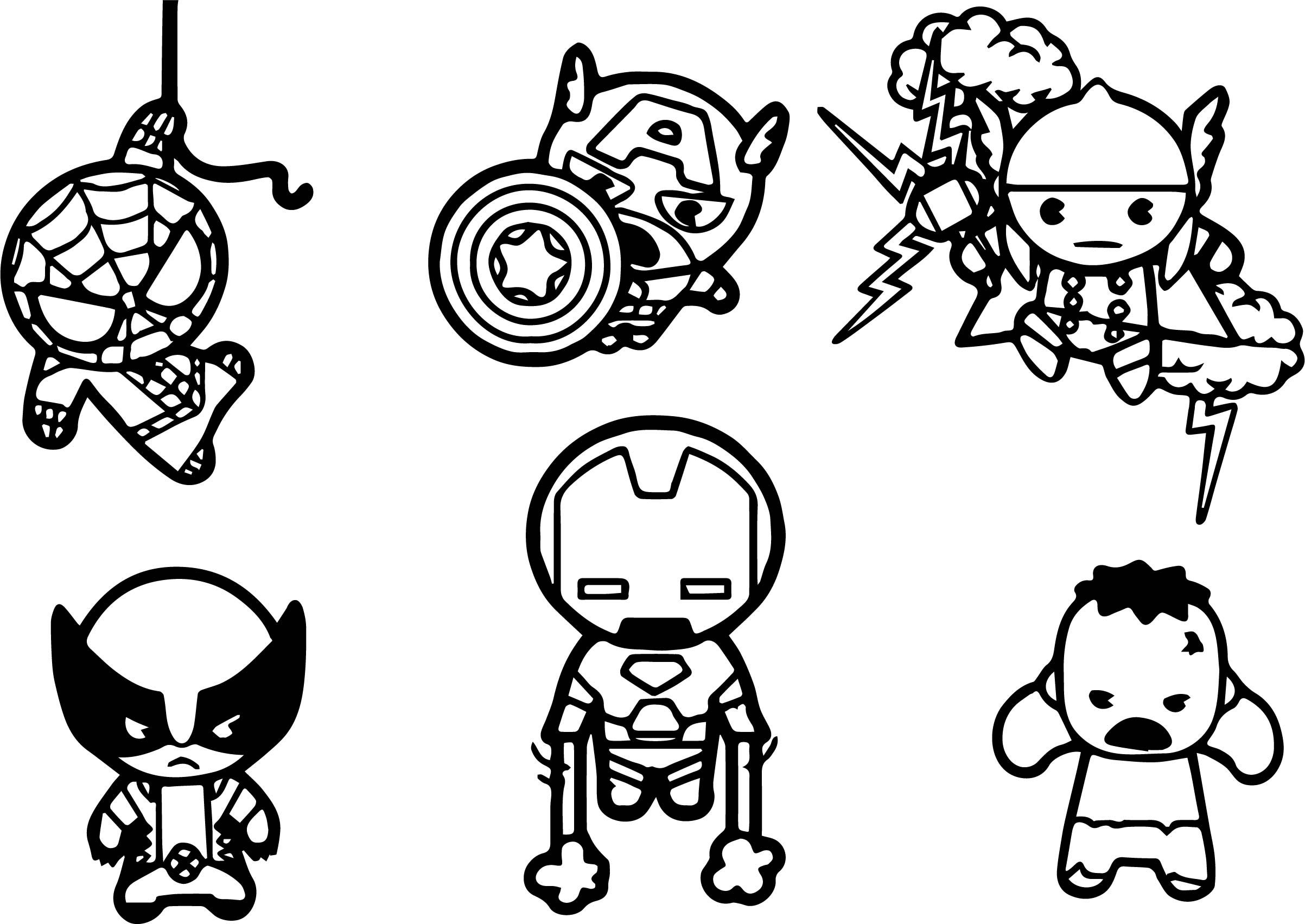 Avengers Baby Chibi Characters Coloring Page Wecoloringpage Com