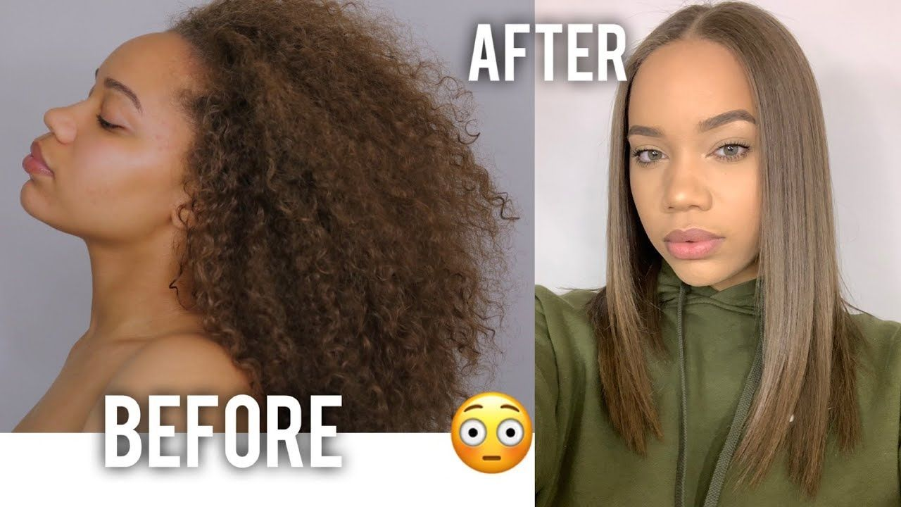 Curly To Straight No Frizz No Heat Damage Youtube Straightening Natural Hair Straightening Curly Hair Curly Hair Styles Naturally