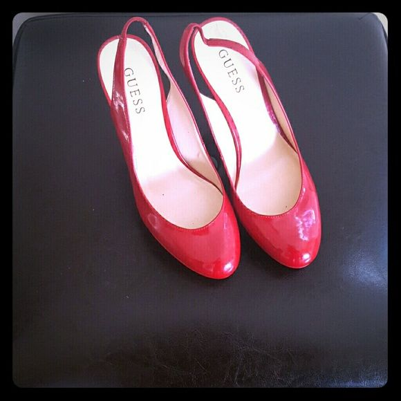 GUESS RED platform slingback pumps With Valentines day approaching these sexy red shoes will make your LBD pop with style Shoes Platforms