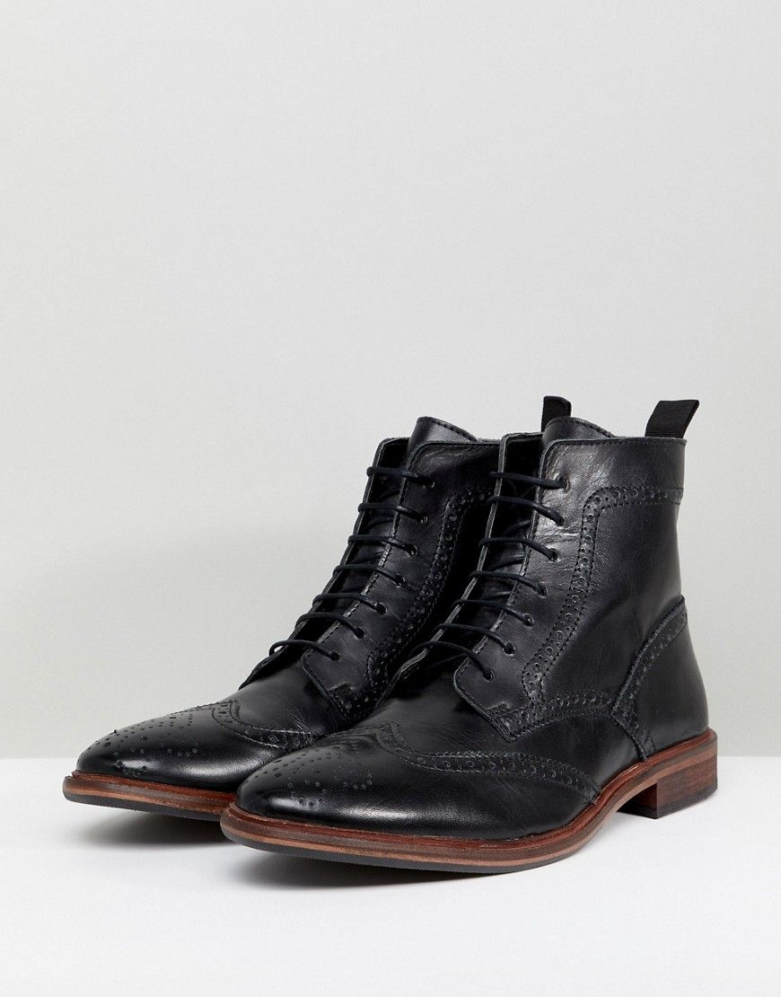 2856fd466cfc1 ASOS Lace Up Brogue Boots In Black Leather With Natural Sole - Black ...