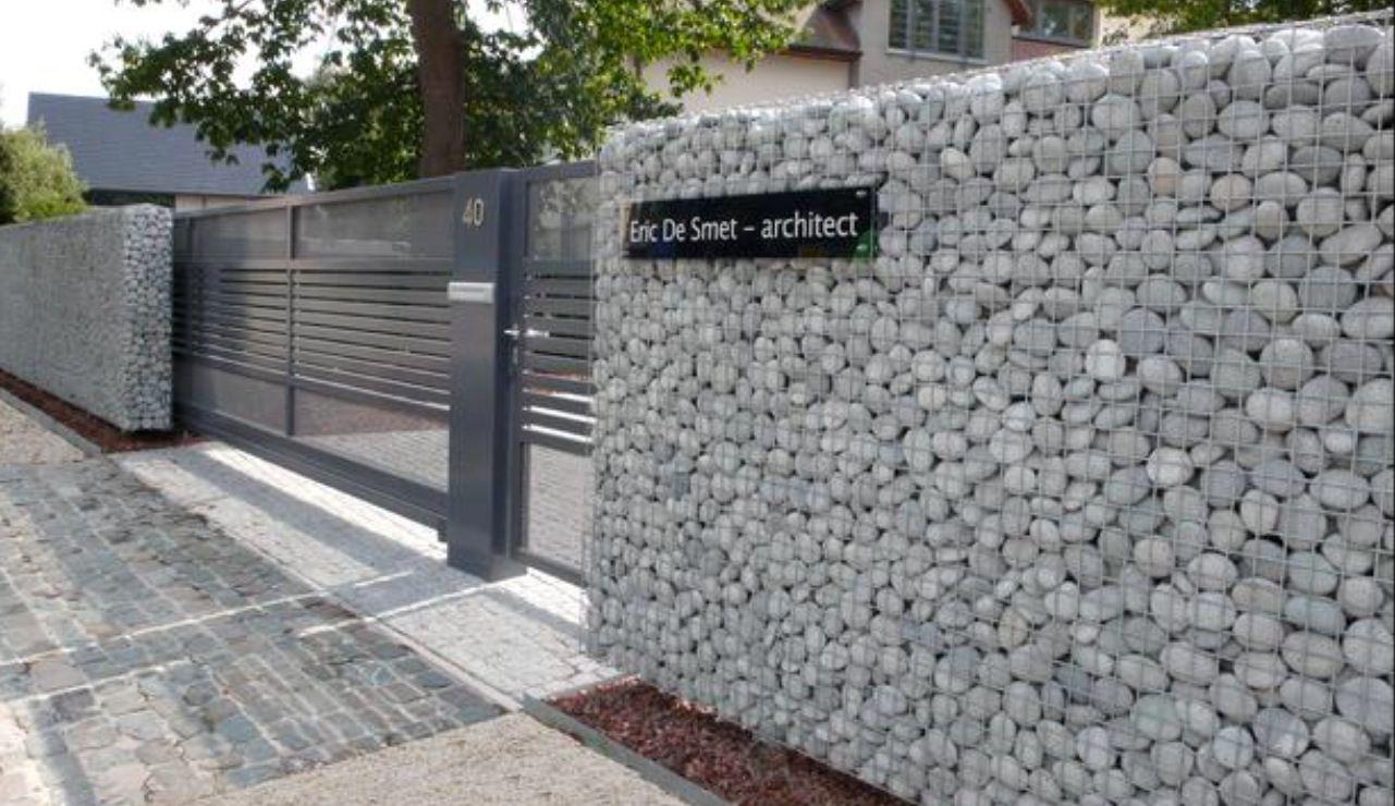 Gabion Wall Used As Privacy Wall Contemporary Gate Fence Design Gabion Wall Gabion Fence