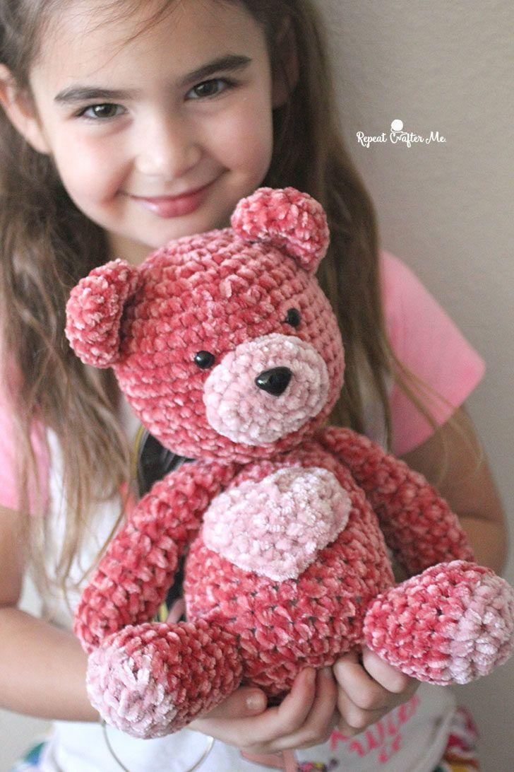 Bernat Velvet Valentine Crochet Bear - Repeat Crafter Me