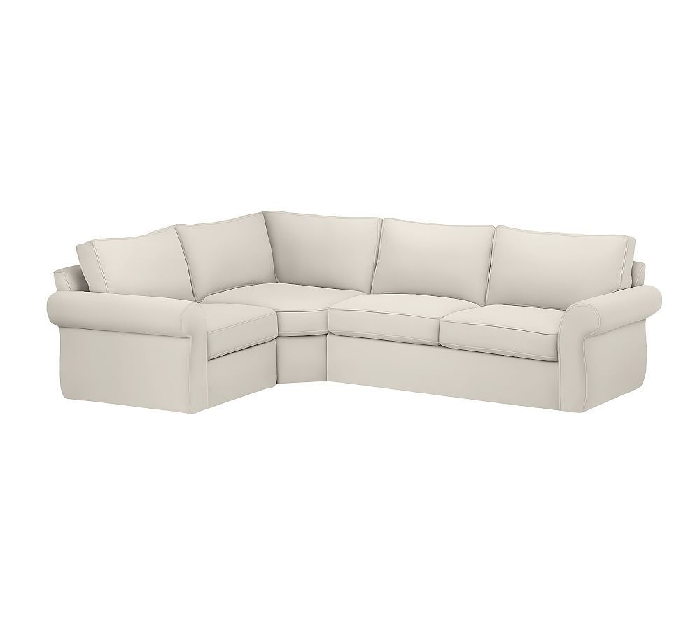 Pearce Slipcovered Left Arm 3pc Wedge Sectional Down