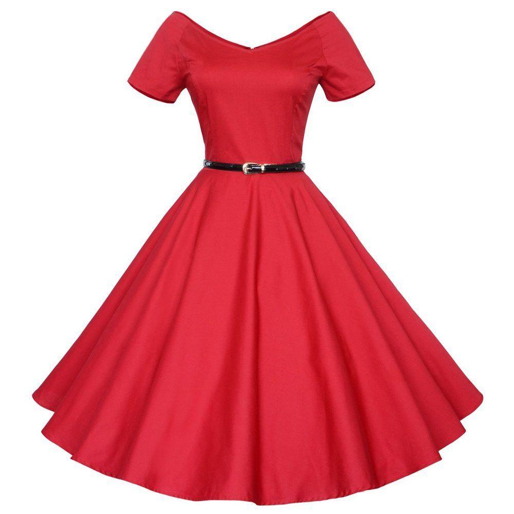 008bb8b6d6 Audrey Hepburn vintage 50s 60s V-neck short sleeve belt tunic ball gown  dress women