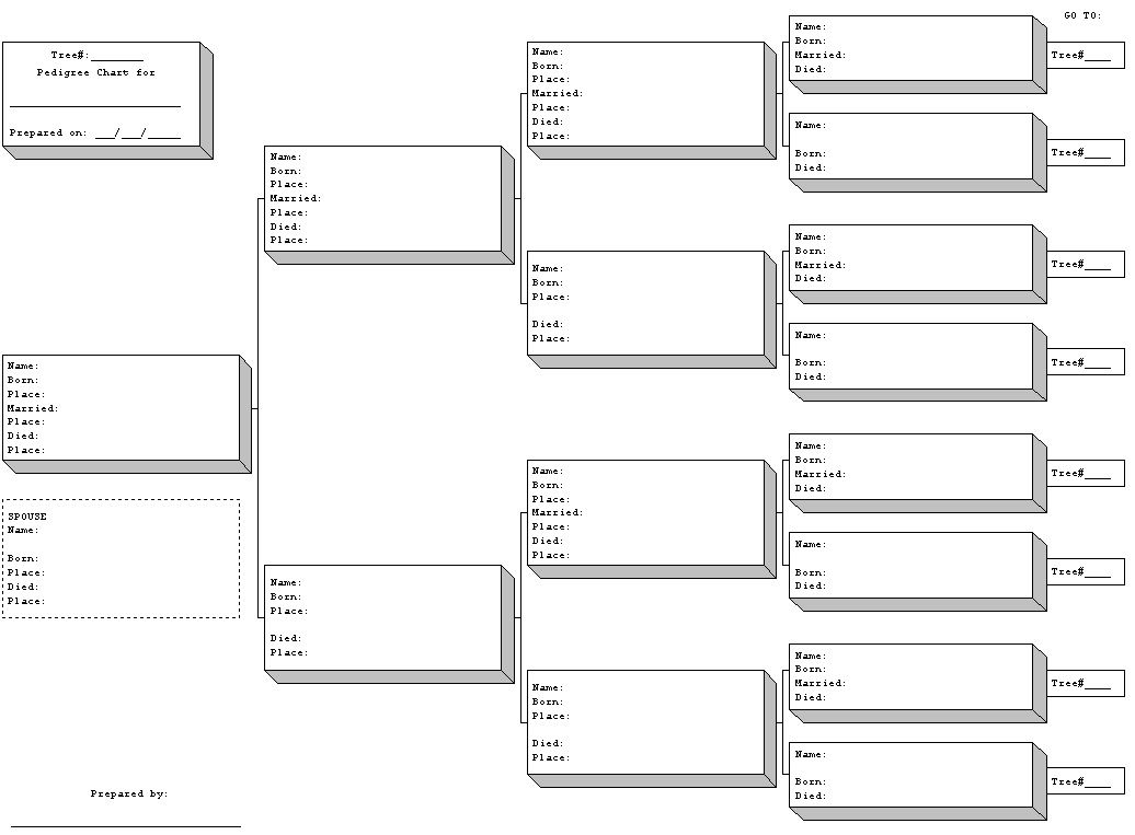 Free printable blank family tree charts geneology for Genealogy templates for family trees