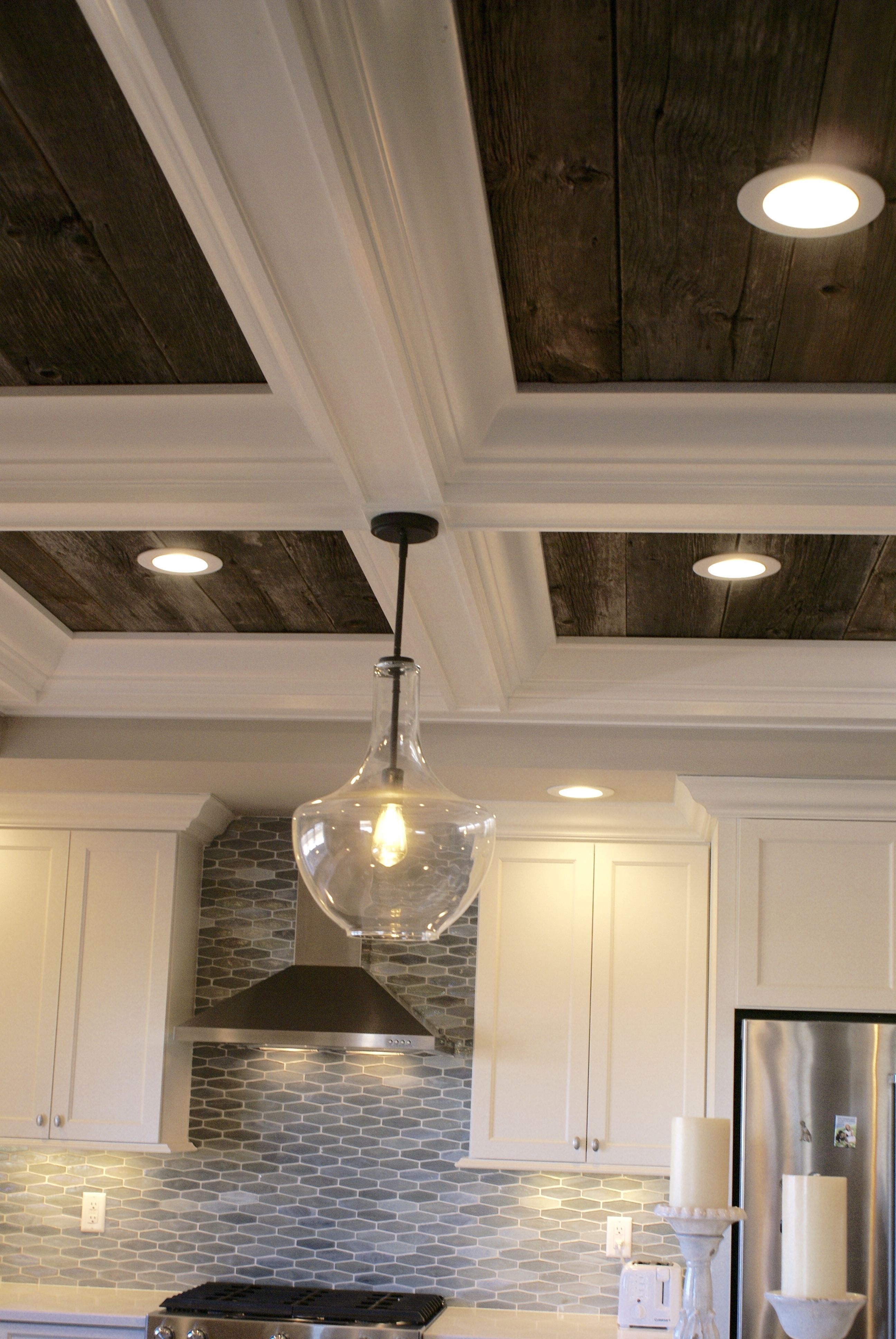 Barnwood coffered ceiling modular kitchen design in