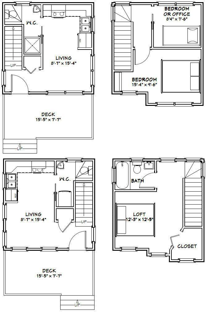 16x16 Tiny Houses PDF Floor Plans 466 sq by