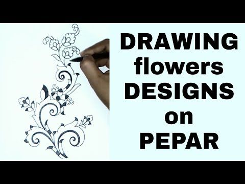 Youtube Simple Pencil Sketch Embroidery Saree Designsdraw Flowers