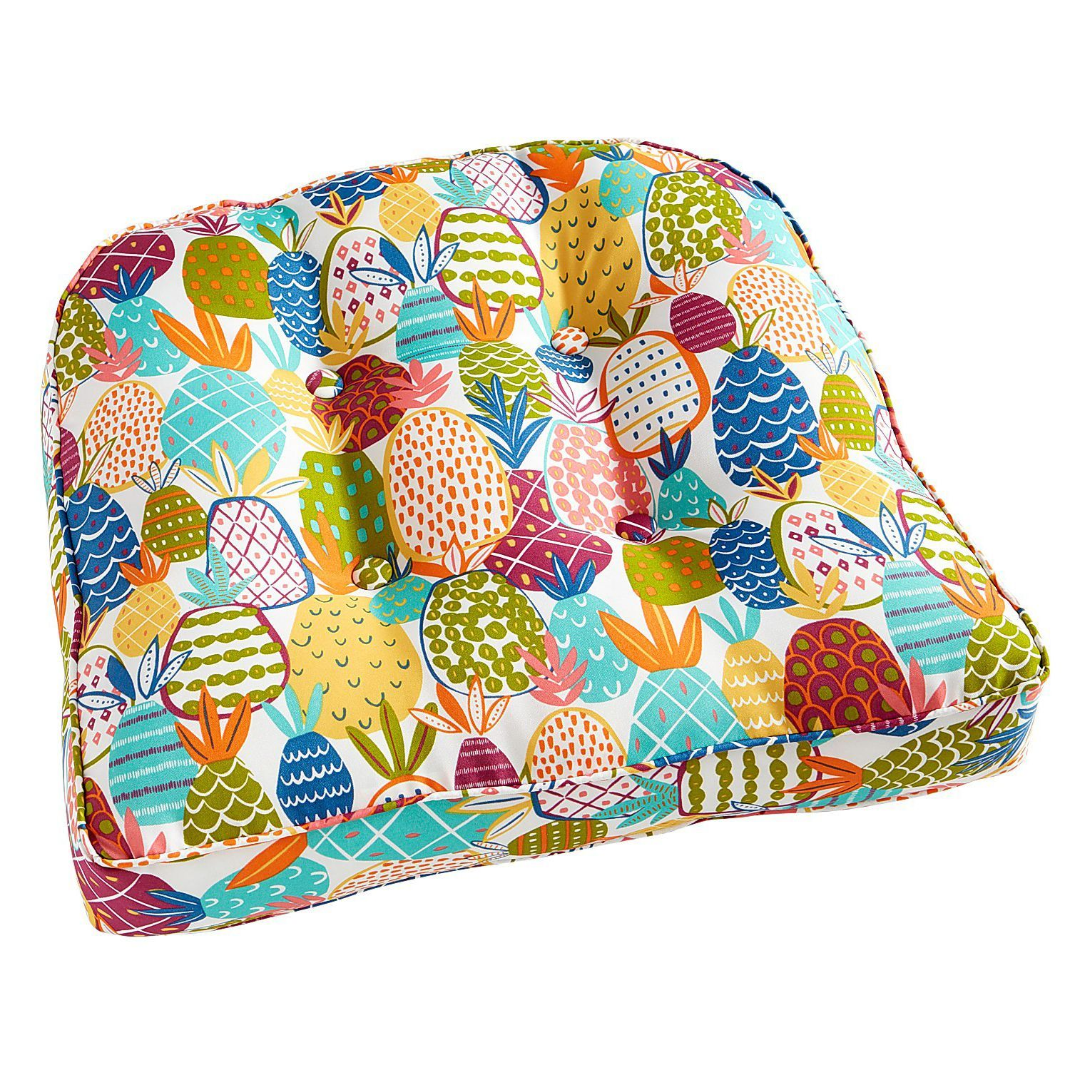 Large Contour Chair Cushion In Pineapple Multi Chair Cushions