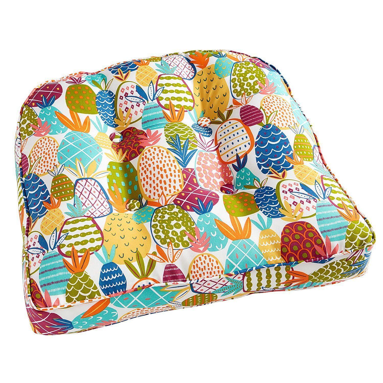 Large Contour Chair Cushion In Pineapple Multi Chair Cushions