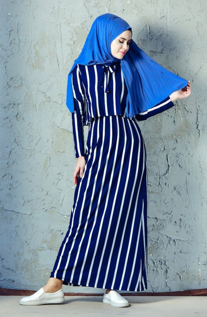 Sefamerve Gunluk Cizgili Tesettur Elbise Modelleri Moda Tesettur Giyim Elbise Modelleri Elbise Kiyafet