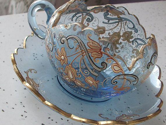 Antique Moser Blue Glass 1920 Http Www Etsy Com Listing 159203336 Antique Moser Glass Tea Cup And Saucer Utm Source Ope Tea Cups Glass Tea Cups Tea Cup Set