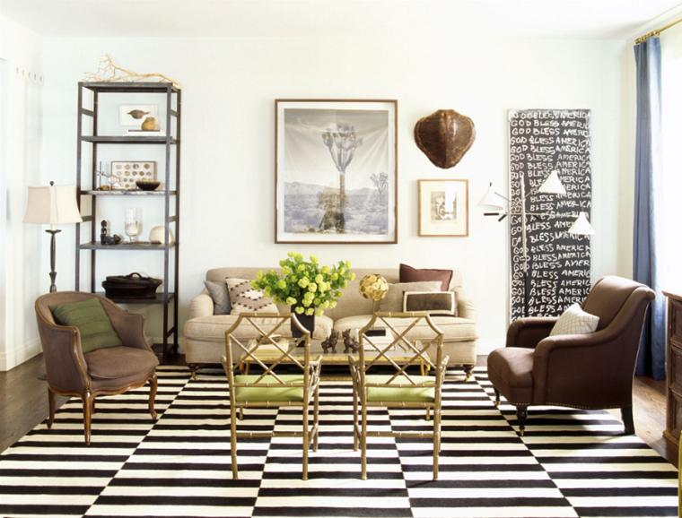 Tapis moderne rayures noir blanc salon stockholm ikea