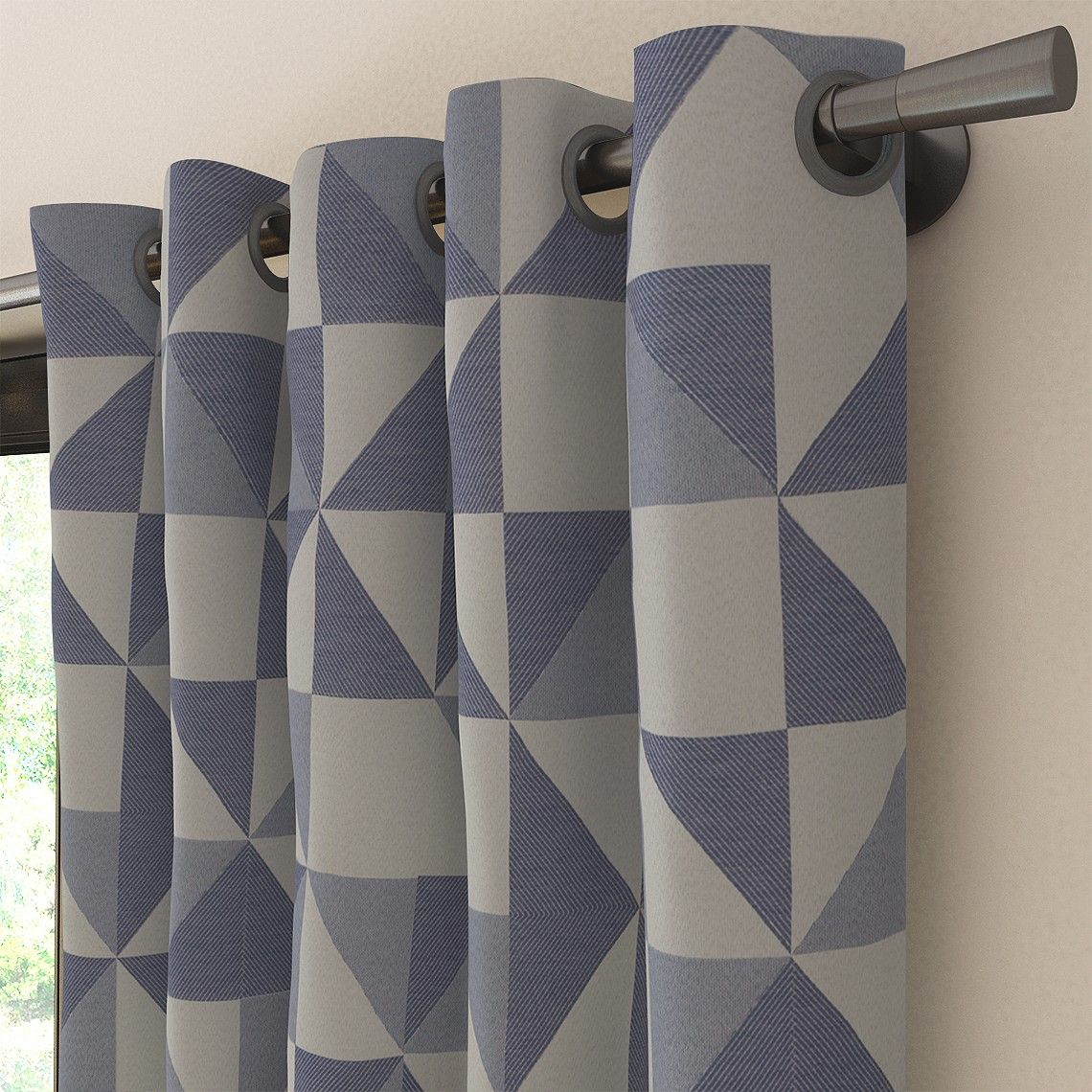 tissu faience motif g om trique gris anthracite saint. Black Bedroom Furniture Sets. Home Design Ideas