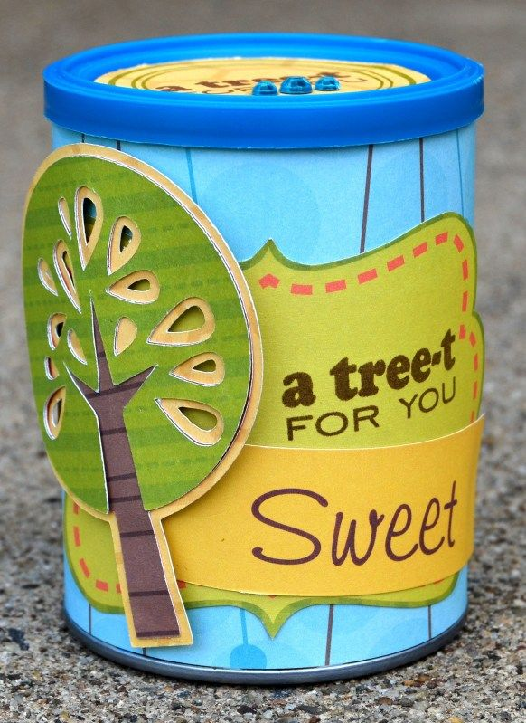 Thoughts of Scrapbooking: Altered macadamia nut can for Joy's Life  http://joyslife.com/products/products.html