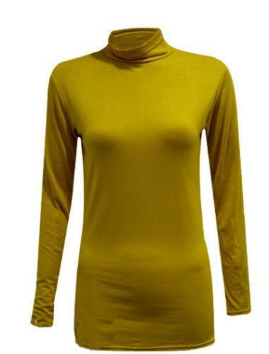 b56b0593387b5a Ladies Long Sleeves Polo Neck Stretch Top Turtle Neck Jumper Plus Sizes  8-26#Polo#Neck#Sleeves