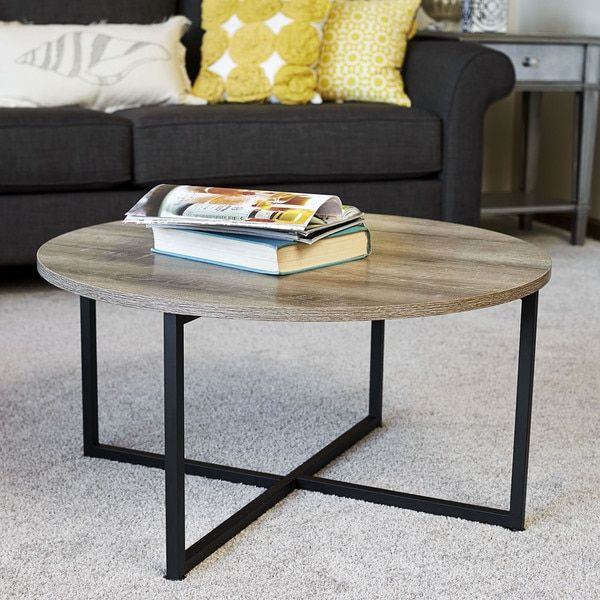 Household Essentials Distressed Ashwood Round Coffee Table Coffee Table Coffee Table Wood Coffee Table Walmart