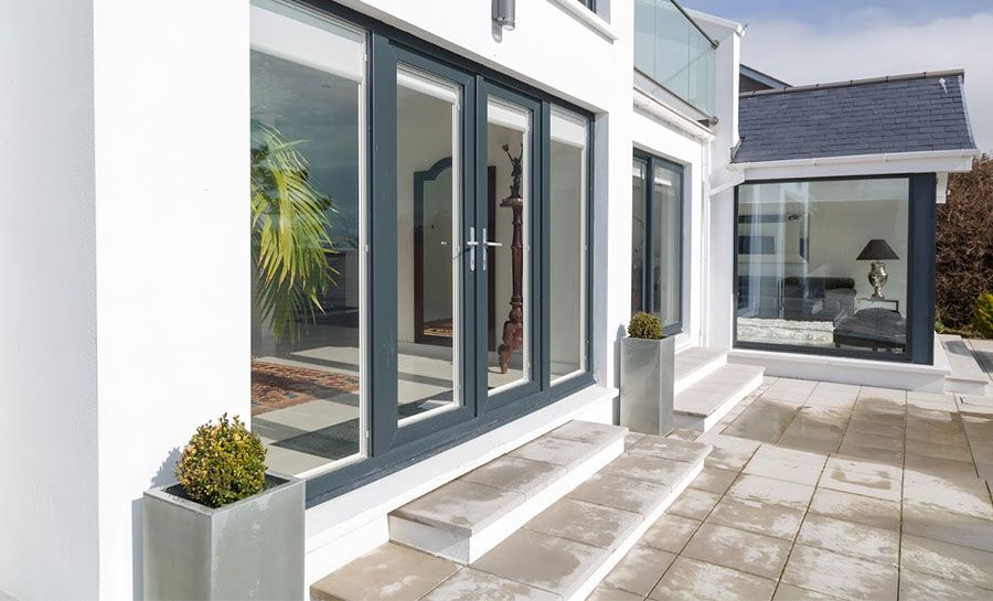 6ft Anthracite Grey Upvc French Doors With Wide Side