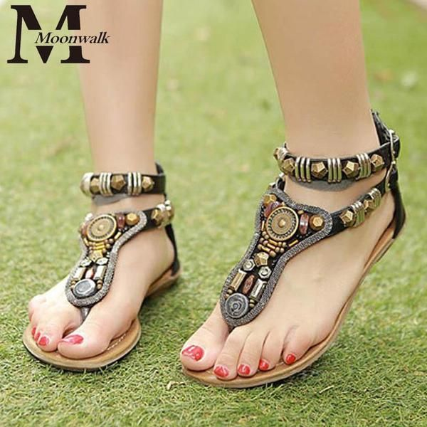 Summer style Vintage flip flops Bohemia fashion women flats shoes women Zipper gladiator sandals sandalias mujer