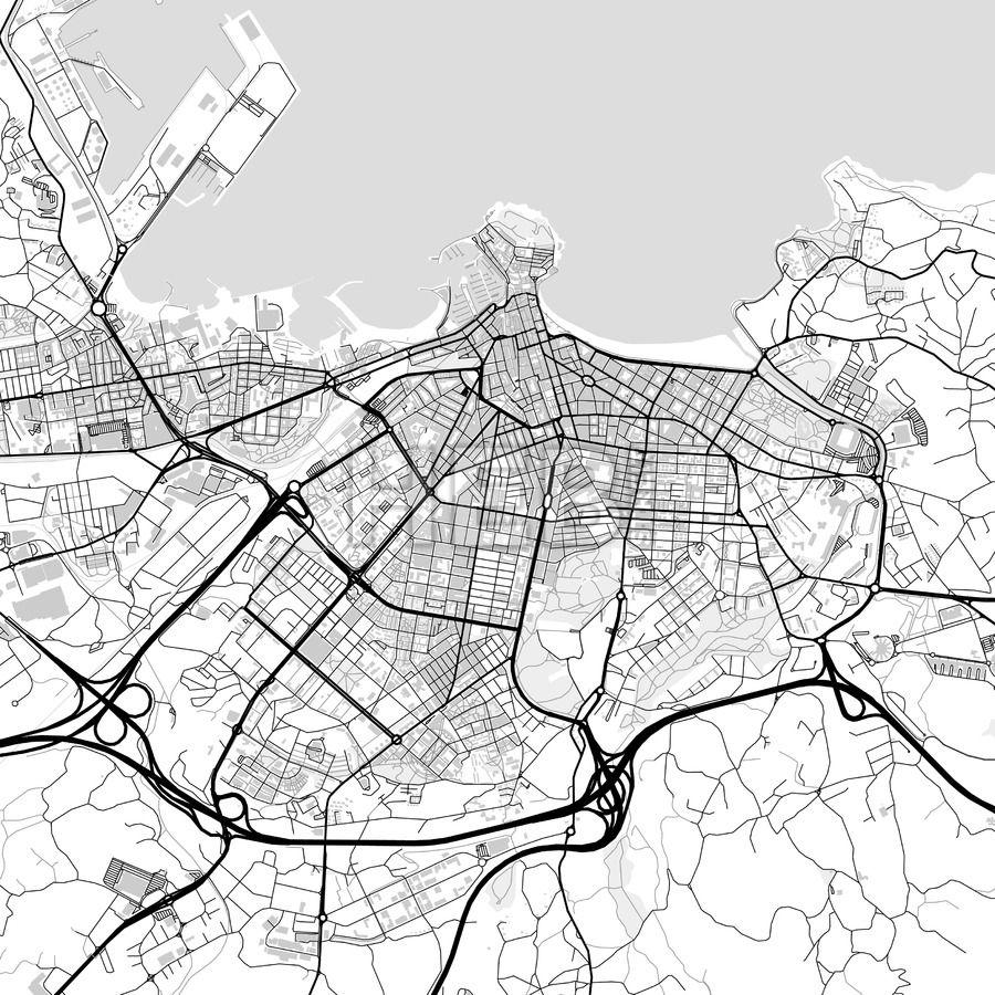Downtown vector map of Gijn