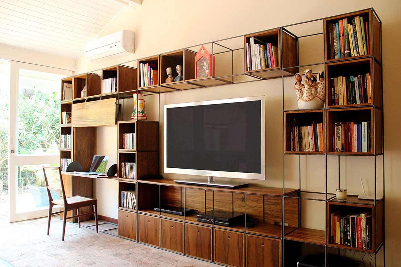 M Dulo Trinca Para Sala De Tv Biblioteca Com Mesa De Trabalho  -> Sala De Tv E Som