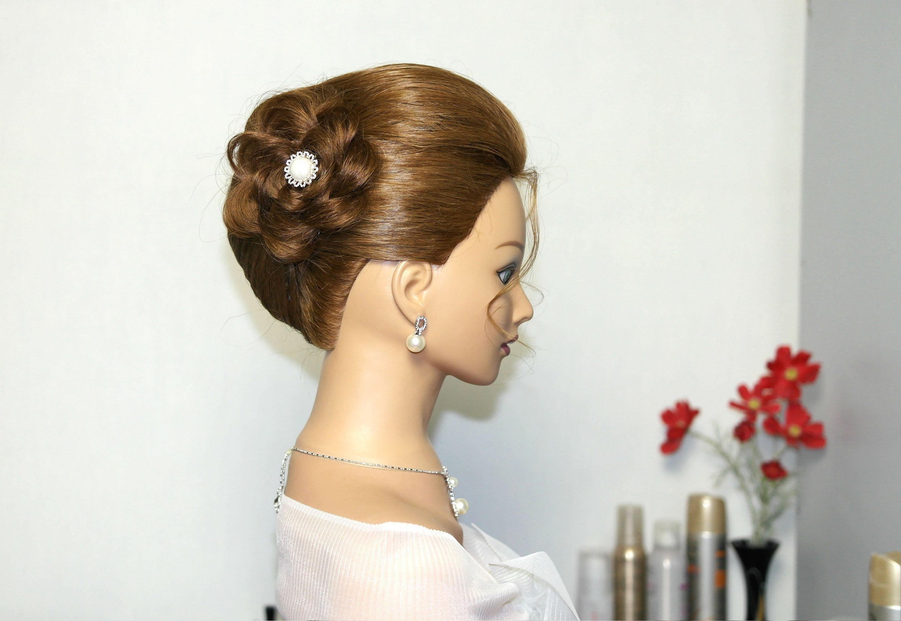Bridal updo with braided flower, hairstyles for long hair. | Braids ...