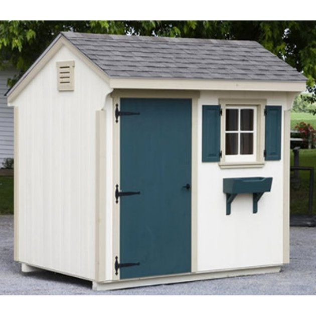 Quaker Storage Shed W Teal Accents Backyard Sheds Shed Yard Sheds