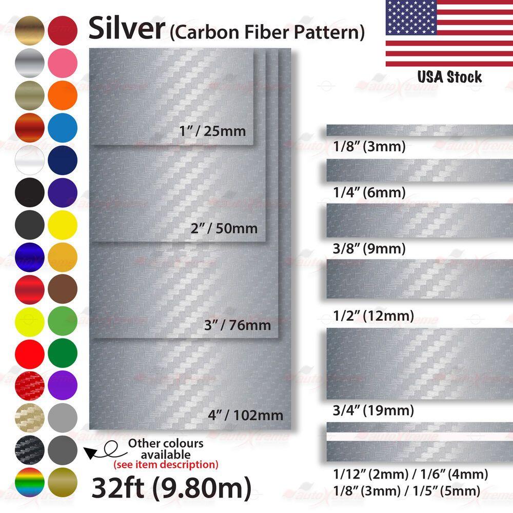 1 8 4 Pin Stripe Car Model Truck Line Tape Vinyl Stickers Carbon Fiber Silver Unbrandedgeneric Vinyl Sticker Carbon Fiber Gold Chrome