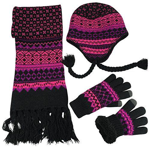 56302c2131129 Women s Winter 3PC Cable Knit Beanie Hat Gloves Scarf Set - Space Dye -  CK186HEIN33