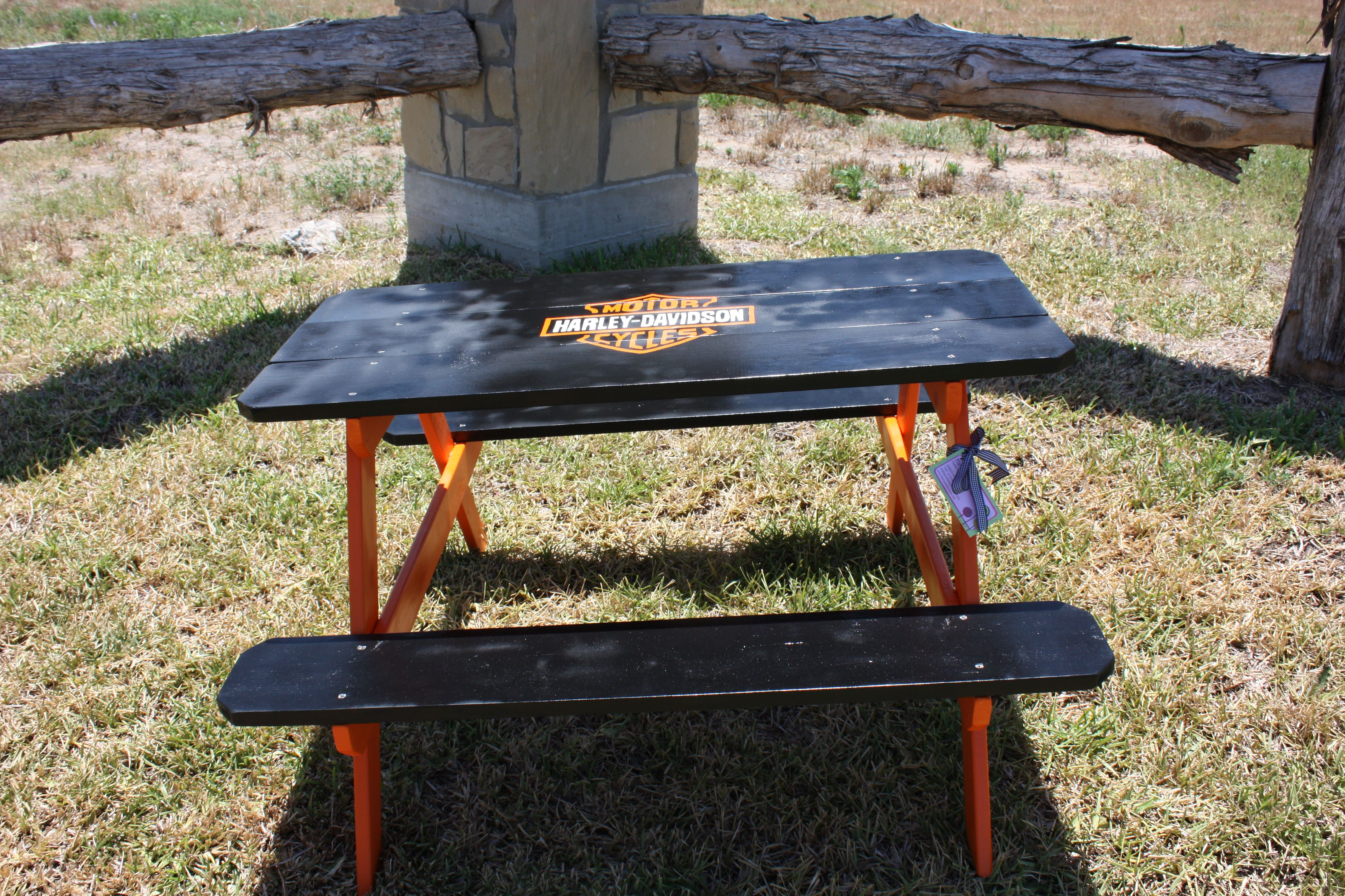 Toddler Size Kids Picnic Table Custom Painted With Harley Davidson Logo