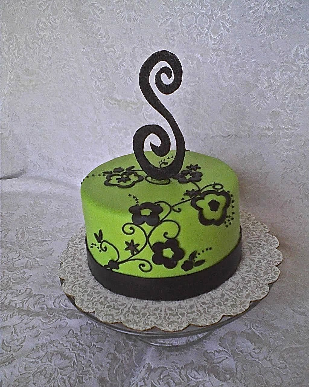 Lime Green And Black Birthday Cake Green Cake 40th Cake Cake