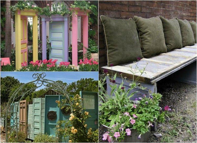 alte Türen als Deko im Garten - Sichtschutzzaun oder