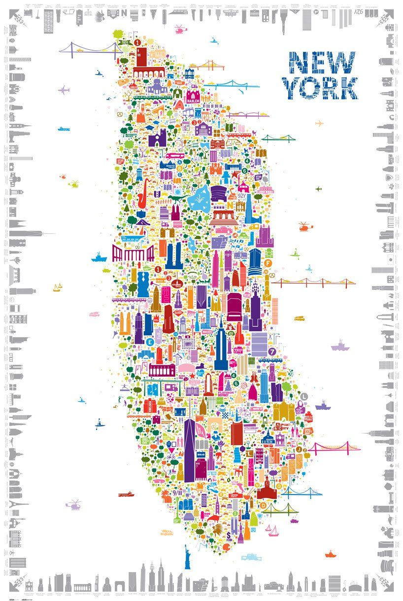 Whimsical Map Colorfully Details  New York Icons - New york map cities xl