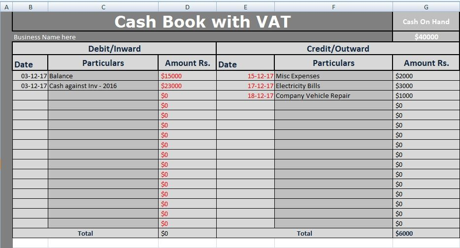 Cash Book With Vat Excel Template Free Excel Templates