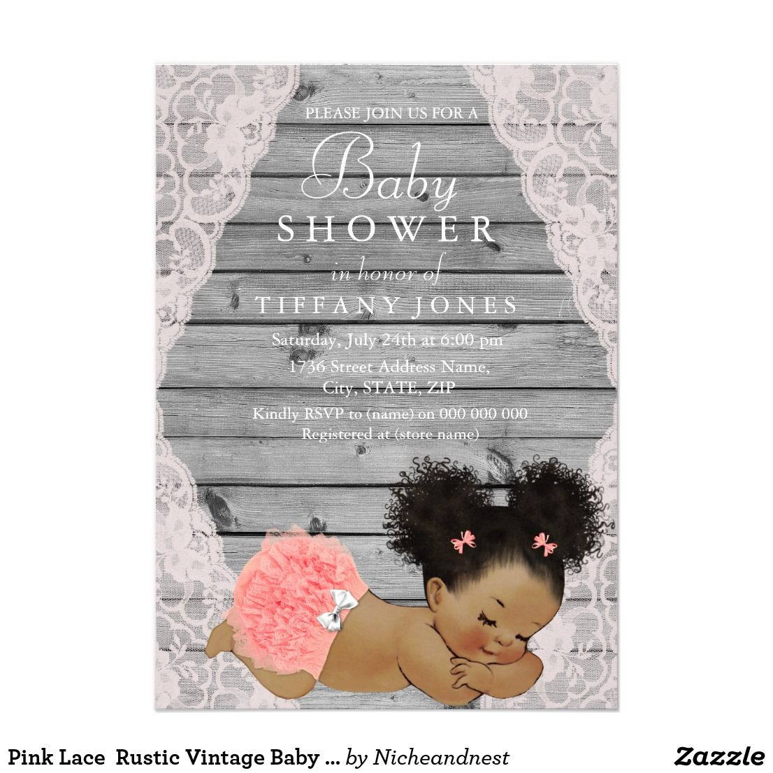 Pink Lace Rustic Vintage Baby Shower Invite | Vintage baby showers ...