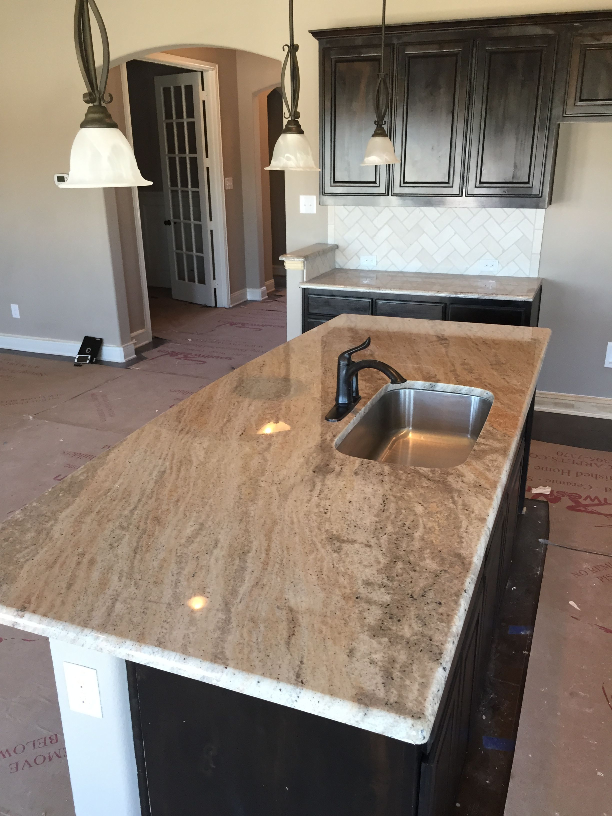 New Construction Kitchen Island Installation 3cm Astoria Granite Brown Bathroom Decor Installing Countertops