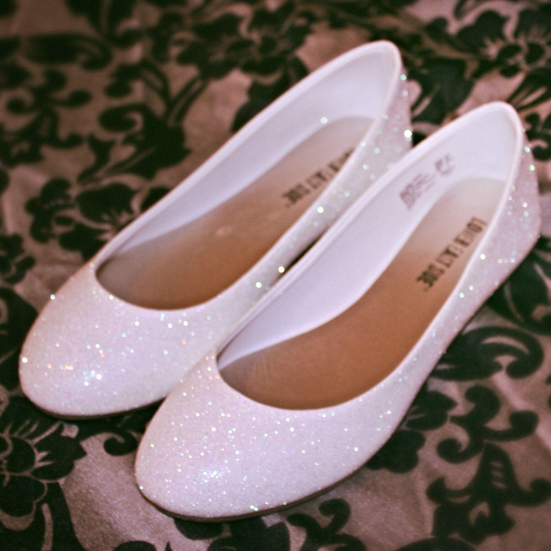 White Glitter Bridal Shoes Wedding Flats